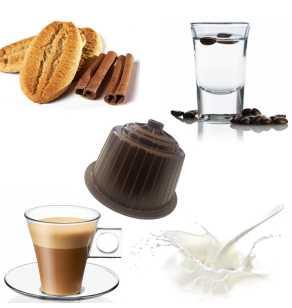 kit Dégustation Dolce Gusto GOURMET BROWN 1  des 64 capsules-16 Lait écrémé –16 Cortado (Café au lait) –16 Cappuccino Biscuit et Cannelle–16 Café et Sambuca (Anis)
